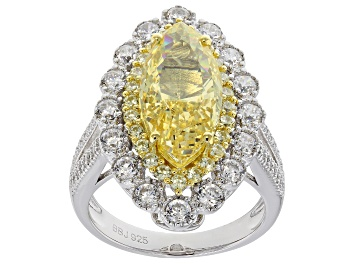 Picture of Pre-Owned Yellow and White Cubic Zirconia Rhodium Over Sterling Silver Ring 10.79ctw