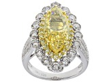 Pre-Owned Yellow and White Cubic Zirconia Rhodium Over Sterling Silver Ring 10.79ctw