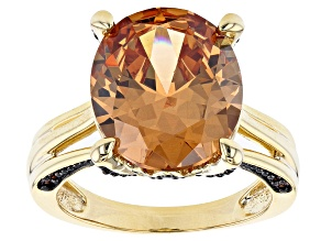 Pre-Owned Champagne And Mocha Cubic Zirconia 18K Yellow Gold Over Sterling Silver Ring 14.96ctw