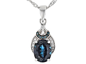 Pre-Owned Lab Created Alexandrite Rhodium Over Sterling Silver Pendant With Chain 1.82ctw