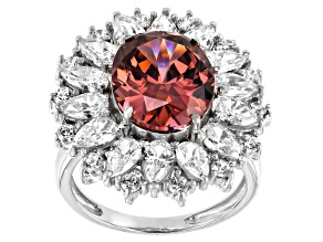 Pre-Owned Blush And White Cubic Zirconia Rhodium Over Sterling Silver Ring 16.10ctw
