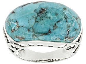 Pre-Owned Blue Turquoise Oxidized Sterling Silver Solitaire Ring