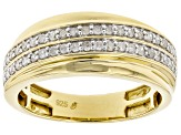Pre-Owned White Diamond 14k Yellow Gold Over Sterling Silver Mens Ring 0.55ctw