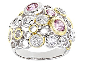 Pre-Owned Pink And White Cubic Zirconia Rhodium And 18K Yellow Gold Over Sterling Silver Ring 2.67ct