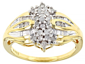 Pre-Owned White Diamond 18K Yellow Gold Over Sterling Silver Cluster Ring 0.50ctw