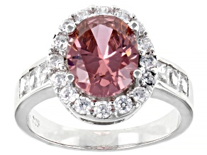 Pre-Owned Blush And White Cubic Zirconia Rhodium Over Sterling Silver Ring 6.50ctw