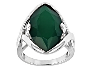 Pre-Owned Green Onyx Rhodium Over Sterling Silver Ring 7.10ct