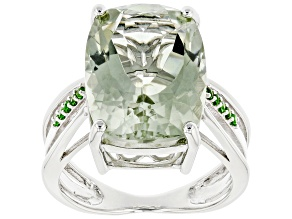 Pre-Owned Green Prasiolite Rhodium Over Silver Ring 8.59ctw