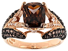 Pre-Owned Mocha And White Cubic Zirconia 18K Rose Gold Over Sterling Silver Ring 4.64ctw