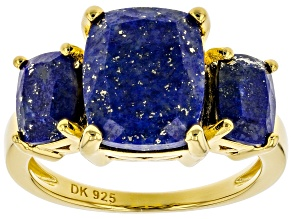 Pre-Owned Blue Lapis Lazuli 18k Yellow Gold Over Sterling Silver 3-Stone Ring