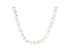 Pre-Owned White Cultured Freshwater Pearl Rhodium Over Sterling Silver Strand Necklace 9-10mm