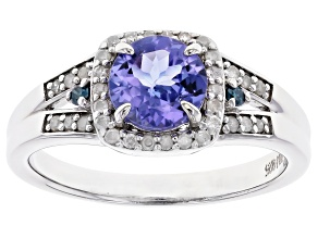 Pre-Owned Blue Tanzanite Rhodium Over Silver Ring 1.04ctw