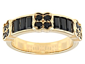Pre-Owned Black Spinel 18k Yellow Gold Over Sterling Silver Band Ring 1.19ctw