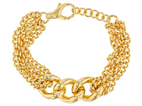 Pre-Owned Moda Al Massimo® 18k Yellow Gold Over Bronze Grande Curb 9 inch Bracelet