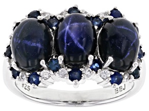 Pre-Owned Blue Star Sapphire Rhodium Over Sterling Silver Ring 6.95ctw