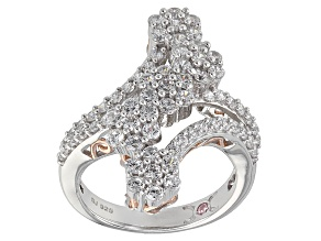 Pre-Owned Cubic Zirconia Silver And 18k Rose Gold Over Silver Ring 3.31ctw (1.56ctw DEW)