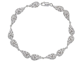Pre-Owned White Cubic Zirconia Rhodium Over Sterling Silver Angel Wing Bracelet 3.30ctw