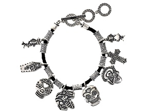Pre-Owned Day Of The Dead Sterling Silver Charm Bracelet
