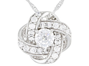 Pre-Owned White Cubic Zirconia Rhodium Over Sterling Silver Pendant With Chain 2.55ctw