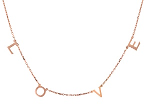Pre-Owned 18K Rose Gold Over Sterling Silver LOVE Initial Cable Chain 18 Inch with 2 Inch Extender N