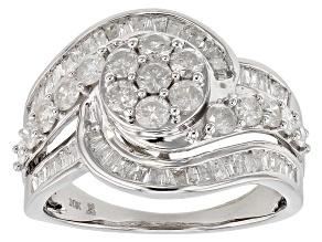 Pre-Owned White Diamond 10k White Gold Cluster Ring 1.50ctw