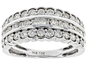 Pre-Owned White Diamond 10K White Gold Wide Band Ring 1.00ctw