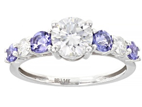 Pre-Owned Moissanite and tanzanite 14k white gold ring 1.20ctw DEW