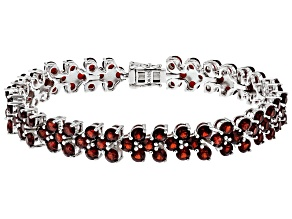Pre-Owned Red Garnet Rhodium Over Silver Bracelet 19.76ctw