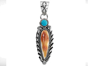 Pre-Owned Sleeping Beauty Turquoise and Spiny Oyster Shell Rhodium Over Silver Pendant