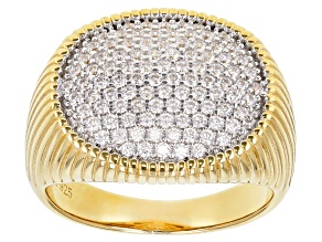 Pre-Owned White Cubic Zirconia 18K Yellow Gold Over Sterling Silver Ring 1.42ctw