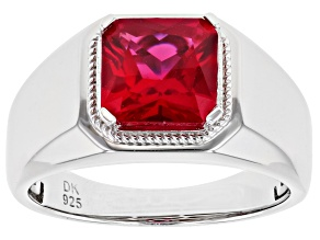 Pre-Owned Red Lab Created Ruby Rhodium Over Silver Ring 3.47ct
