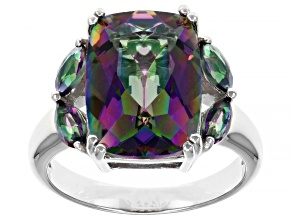 Pre-Owned Multi-Color Quartz Rhodium Over Sterling Silver Ring 5.49ctw