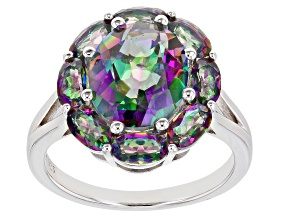 Pre-Owned Multi-color Quartz Rhodium Over Sterling Silver Ring 4.41ctw