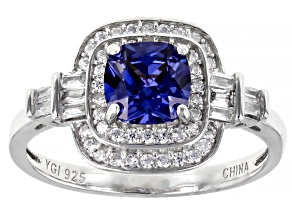 Pre-Owned Blue And White Cubic Zirconia Rhodium Over Sterling Silver Ring 2.57ctw