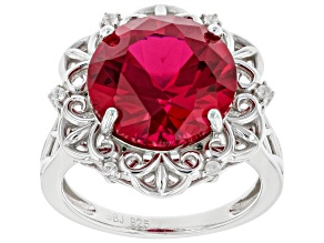 Pre-Owned Red Lab Created Ruby Rhodium Over Sterling Silver Ring. 6.24ctw