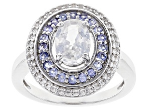 Pre-Owned Oval And Round White Zircon Rhodium Over Sterling Silver Ring 2.15ctw