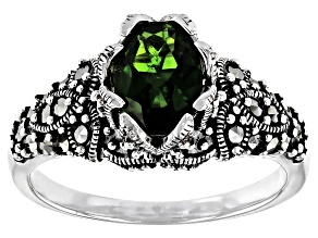 Pre-Owned Green Chrome Diopside Rhodium Over Sterling Silver Ring 1.06ct