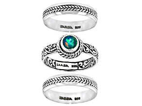 Pre-Owned Opal Sterling Silver Stackable Set of 3 Rings 5mm Round