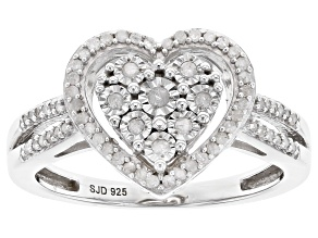 Pre-Owned White Diamond Rhodium Over Sterling Silver Heart Cluster Ring 0.25ctw