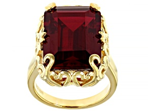 Pre-Owned Red Lab Created Ruby 18k Yellow Gold Over Sterling Silver Ring