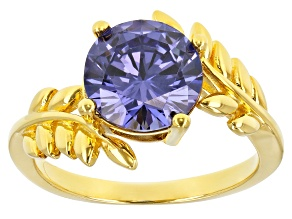 Pre-Owned Blue Cubic Zirconia 18K Yellow Gold Over Sterling Silver Ring 4.95ctw