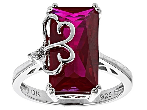 Pre-Owned Lab Created Ruby Rhodium Over Sterling Silver Ring 4.93ctw