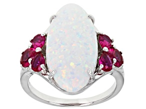 Pre-Owned White Lab Created Opal Rhodium Over Silver Ring 1.12ctw