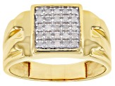 Pre-Owned White Diamond 14K Yellow Gold Over Sterling Silver Mens Cluster Ring 0.25ctw