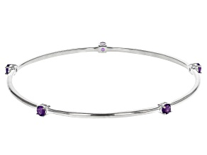 Pre-Owned Amethyst Rhodium Over Sterling Silver Bracelet .60ctw