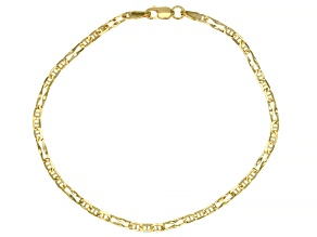 Pre-Owned Splendido Oro™ 14K Yellow Gold 2.33MM Wave Figaro Link 7.5 Inch Bracelet