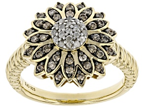 Pre-Owned Champagne And White Diamond 14K Yellow Gold Over Sterling Silver Flower Cluster Ring 0.50c