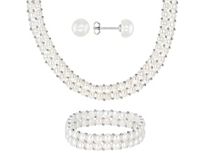 Pre-Owned White Cultured Freshwater Pearl Rhodium Over Silver Necklace, Bracelet, & Stud Earring Set
