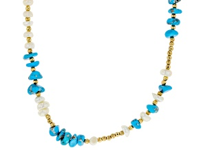 Pre-Owned Blue Sleeping Beauty Turquoise Chips With Cultured Freshwater Pearl & Hematine Silver Neck
