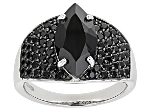 Pre-Owned Black Spinel Rhodium Over Sterling Silver Ring 3.81ctw